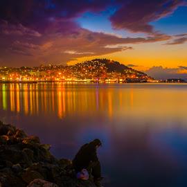The fisherman by Murat Besbudak - Landscapes Sunsets & Sunrises ( cruise por, kuşadası, sun set, aegean sea, turkey )