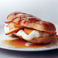 Peaches 'n' Cream Eclairs with Bourbon Caramel Sauce