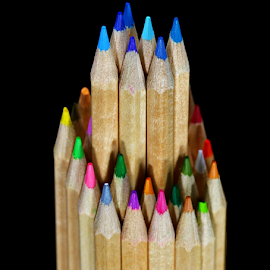 Blue pencils by Dipali S - Artistic Objects Education Objects ( isolated, crayon, school supplies, colors, art, study, yellow, education, creativity, multi colored, art and craft equipment, pencil, draw, school, red, pattern, blue, vibrant color, artist's, pencil drawing, stack, large, object )