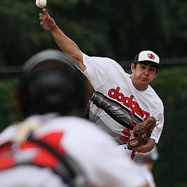 Strike 3!!! by Dale Wooten - Sports & Fitness Baseball ( ball, catcher, baseball field, high school, atheltics, baseball, pitcher, summer, sport, athlete )