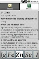 Screenshot of Vitamins Minerals