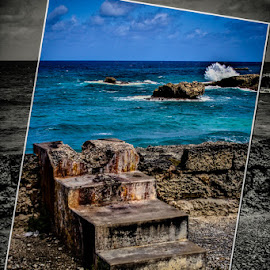 Steps in Barbados by Ted Petrovits - Landscapes Travel ( water, wave, stone, steps, rocks, artistic touch )
