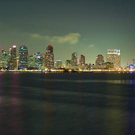 San Diego by Dean Mayo - City,  Street & Park  Skylines ( water, san diego, skyline, ca, long exposure, night, city )