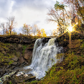 Sun Coming Out Over Brandywine Falls by Martin Belan - Landscapes Waterscapes ( brandywine falls, cvnp, cuyahoga valley national park, waterfall, national parks, sunrise, landscape, waterfall sunrise,  )
