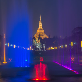Shwedagon with colourful water fountain by Tin Htoo Khaing - City,  Street & Park  Night ( myanmar, pagoda, rangoon, yangon, shwedagon, night, burma )