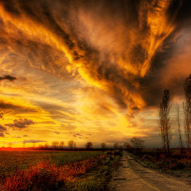 A Moment in Time pt.1 by Zsolt Zsigmond - Landscapes Sunsets & Sunrises ( clouds, sky, hdr, sunset, scenery, road )