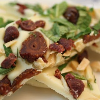 White Chocolate Bark with Fresh Mint, Almonds, and Dried Berries
