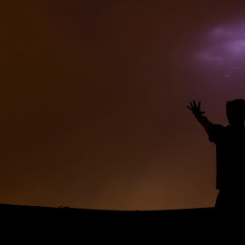Lord Of Thunder by Rohan Gupta - Landscapes Weather ( clouds, thunder, lightning, sky, hands, silhouette, night, storm, people,  )