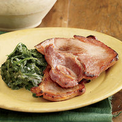 Maple Ham with Spicy Creamed Spinach