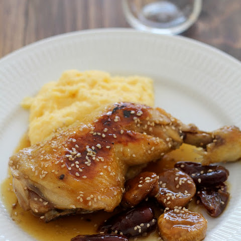 Chicken with Champagne, honey, dried fruit and polenta.