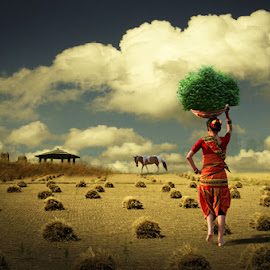 DAILY CHORES by Deep Bhatia - Digital Art People ( composite image, horse, women at work, places, evening, farming )