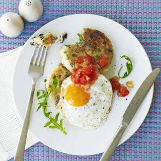 Black Pudding Potato Cakes With Fried Eggs & Tomato Chutney