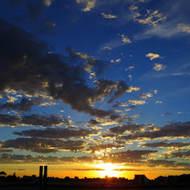 Late Night Fields by Leigh Martin - City,  Street & Park  Skylines ( sunset clouds gold silhouette )