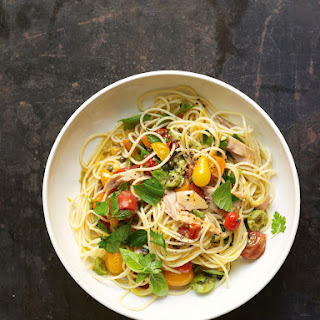 Angel Hair Pasta with Flash-Sautéed Fresh Cherry Tomato Sauce, Tuna, and Green Olives