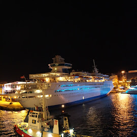 Volos Docking by Donald Henninger - Transportation Boats ( ship, boats, greece, travel, boat, docks, cruise, nightscape, sony, cruiseship, night, ships, digital photography, travel photography, tug )