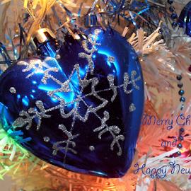 by Snezana Petrovic - Typography Captioned Photos ( heart, tree, decoration, blue, colorful, snezana petrovic, horizontal, christmas, glass )