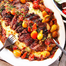 Seared Skirt Steak With Blistered Cherry Tomatoes and Polenta