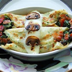 Spinach, Bacon and Mushroom Crepes