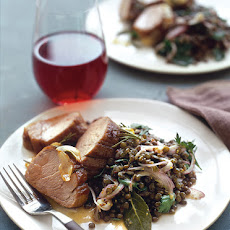 Roasted Pork Loin with Lentil Salad
