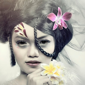 the smile of the existence by Sesar Arief - People Portraits of Women ( mistery, woman, smile, flower )