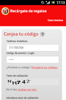 Screenshot of Vodafone Recargate de Regalos