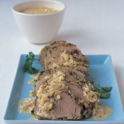 Roast Tenderloin of Pork with Mustard and Creme Fraiche Sauce