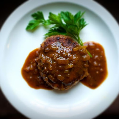 Japanese Chopped Steak with Caramelized Onion Curry Gravy (Hanbāgu)
