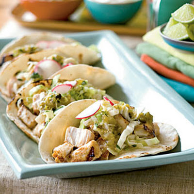 Fish Tacos with Jicama-Cilantro Coleslaw