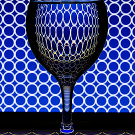 Single Glass by Jun Sigue - Artistic Objects Glass ( water, reflection, single, blue, glass, reflections, round, circle )