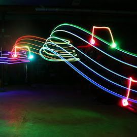 Musical Notes by Pete Daley - Abstract Light Painting ( music, night photography, musical notes, musician, long exposure, led lights )