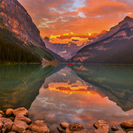 Lake Louise by Joseph Law - Landscapes Waterscapes ( lake louise, morning sun, national park, reflections, shine upon, banff, the rocky mountains )