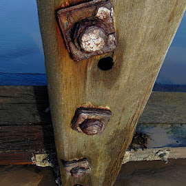 Sea battered wood  by Ste D - Buildings & Architecture Decaying & Abandoned ( sand, wood, metal, beach, iron,  )