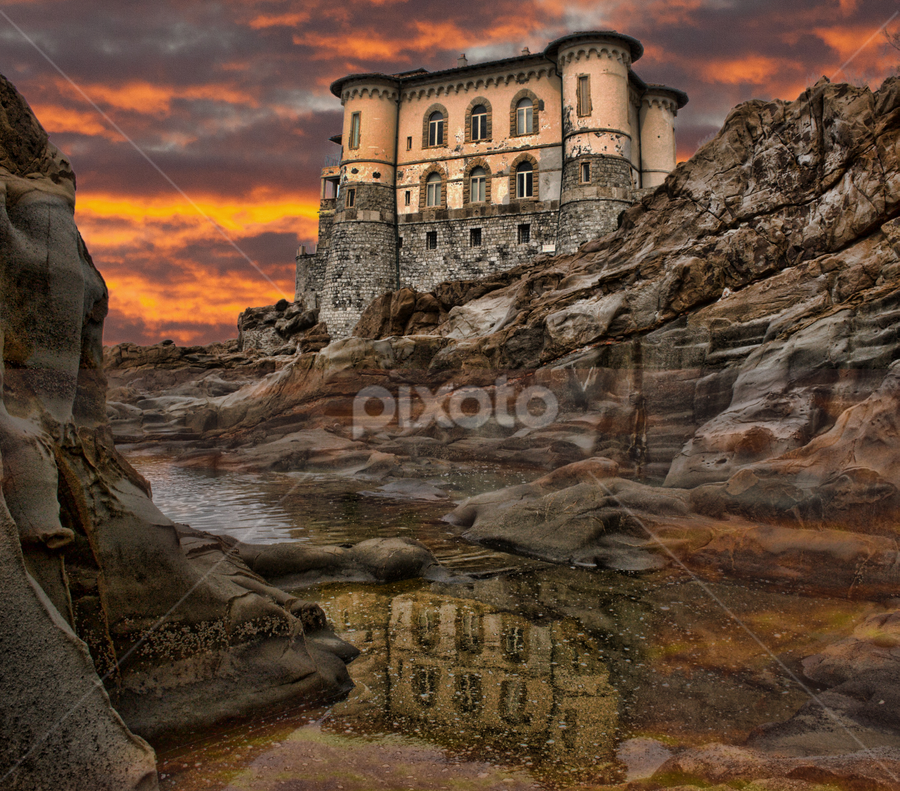 Castel Boccale Livorno Tuscany by Gianluca Presto - Buildings & Architecture Homes ( water, mare, reflection, tuscany, toscana, castel boccale, romantic, sea, castello, beach, landscape, subset, sky, italia, scogli, dark, trave, castle, sunrise, livorno, italy, rocks, riflesso, , relax, tranquil, relaxing, tranquility )