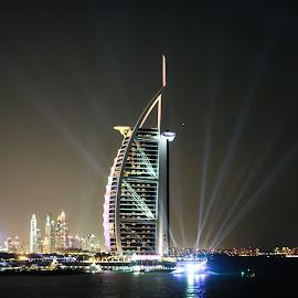 Burj Al Arab Hotel by Surajit Dutta - Buildings & Architecture Office Buildings & Hotels ( building, night photography, architecture, hotel, landscape, Urban, City, Lifestyle )