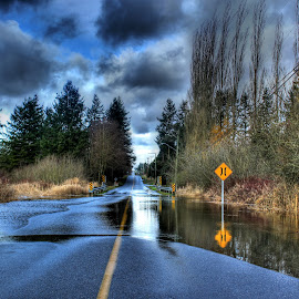 Flooding Reflections by Ernie Kasper - Transportation Roads ( clouds, signs, flood, langley, trees, storm, british columbia, country )