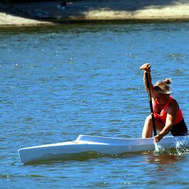 Effort by Péter Cseke - Sports & Fitness Watersports ( hungary, budapest, female, sports, rower, effort, summer, danube )