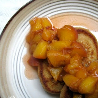 Whole Wheat Pancakes with Boozy Peaches