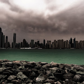 Overcasting Shadow by Scott Lorenzo - City,  Street & Park  Skylines ( clouds, buildings, cityscape, landscape, storm, city )
