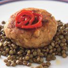 Salmon Cakes with Lentils and Roasted Peppers