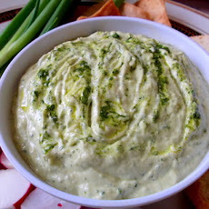Roasted Garlic, Avocado, Brie and Green Sauce Dip