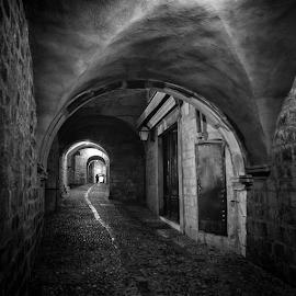 Dark street. by Alecu Gabriel - City,  Street & Park  Night ( dubrovnik, black and white )