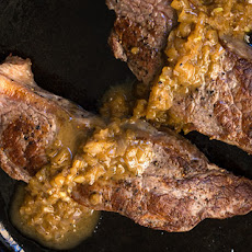 Bison Strip Steaks with Brandy Pan Sauce Recipe