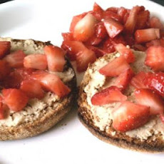 Cashew Butter and Strawberry Topped English Muffin