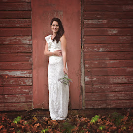 Rustic Bride by Jenna Schwartz - Wedding Bride ( bouquet, wood, before the ceremony, vintage, wedding, bride, flowers, rustic, portrait, country )