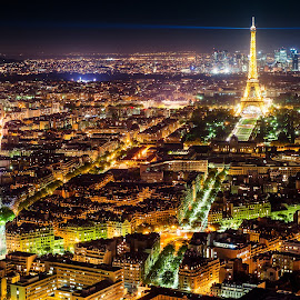 Paris Lights by Michael Wiejowski - City,  Street & Park  Skylines ( paris, skyline, europe, france, cityscape, travel )