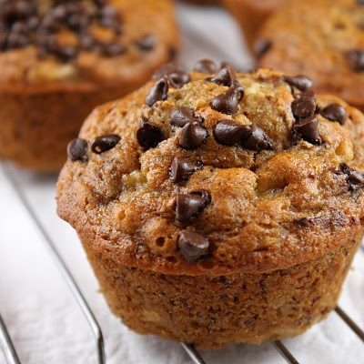 Honey- Sweetened Low Fat Banana Chocolate Chip Muffins