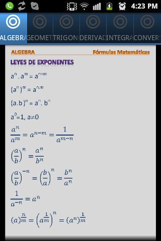 Fórmulas Matemáticas tablas