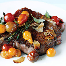 Porterhouse Steak with Pan Seared Cherry Tomatoes