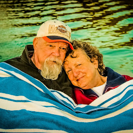 True Love Never Fades... by Jenna Sue Bennett - People Couples ( anniversary, marriage photography, boats, marraige, lakes, lake, loving, cuddle, boat, marriage, couples, love, boating, married, sunset, sunsets, couple, boats boating, golden )