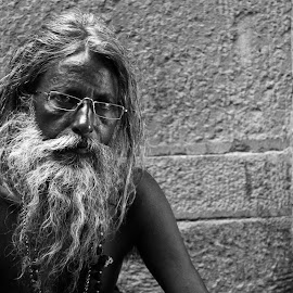 Modernity by Shashwat Prakash - People Street & Candids ( modern, contrast, spiritual, black and white, beard, special, sadhu, portrait )